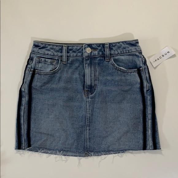 PacSun Dresses & Skirts - Denim mini skirt with navy blue stripes down side